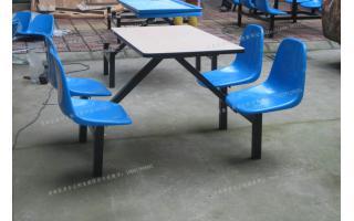 四人连体玻璃钢食堂餐桌椅防火板桌面连体食堂餐桌椅四人连体快餐桌椅ft4-0040