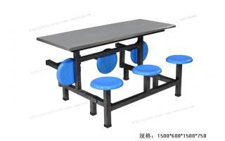 食堂餐桌椅玻璃钢条凳餐桌六人连体快餐桌椅ft6-014