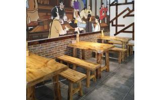 原木餐厅桌椅仿古实木餐厅桌凳原木餐桌凳实木整料开的餐桌椅ftsmczy-072